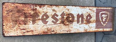 Large Vintage 1960's Firestone Tires Gas Station 48 inch Metal Sign