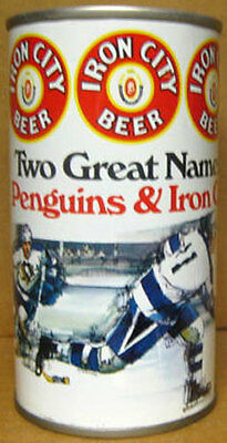 IRON CITY BEER, PITTSBURGH PENGUINS Two Great Names ss CAN PENNSYLVANIA 1976 (Pennsylvania Capital Name)