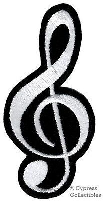 TREBLE CLEF iron-on PATCH embroidered MUSICAL NOTE G-CLEF SYMBOL applique MUSIC