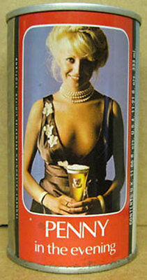 TENNENT'S PENNY IN THE EVENING ss Beer CAN, SCOTLAND, UNITED KINGDOM, Girl, Gd.1