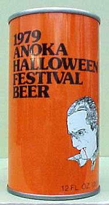 Halloween Ulm (1979 ANOKA HALLOWEEN FESTIVAL BEER ss CAN, DRACULA Schell, New Ulm, MINNESOTA)