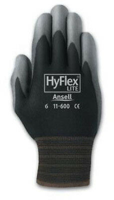 Ansell 11-600 Hyflex Polyurethane Palm Coated Black Gloves- Size 6 Pack Of 12