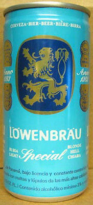 LOWENBRAU SPECIAL CERVEZA 10oz. empty Beer CAN w/ LION & COINS, PANAMA, Bier, 1+