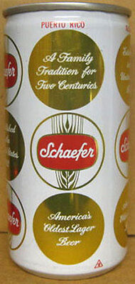 SCHAEFER BEER 10oz empty CAN for PUERTO RICO Lehigh Valley, PENNSYLVANIA 1981 1+