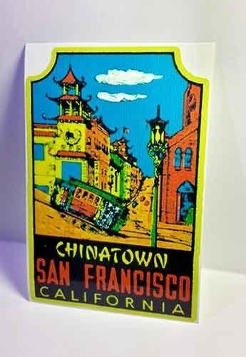 San Francisco Chinatown Vintage Style Travel Decal / Vinyl Sticker,Luggage Label
