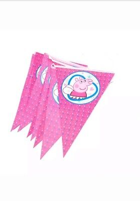 Fiesta Themed Decorations (Pink Pig Banner Flag Cartoon Theme Party Kids Birthday Fiesta)