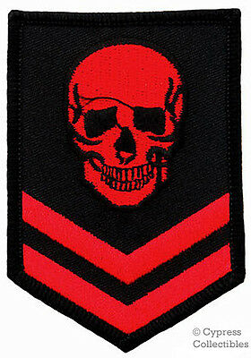 IRON-ON PATCH - RED SKULL EMBROIDERED MILITARY SKELETON EMBROIDERED SKELETON new