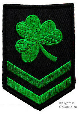 IRISH CLOVER MILITARY PATCH embroidered LUCKY SHAMROCK iron-on CHEVRON GREEN new