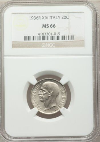 ITALY KINGDOM  1936-R 20 CENTESIMI COIN, GEM UNCIRCULATED, NGC CERTIFIED MS66
