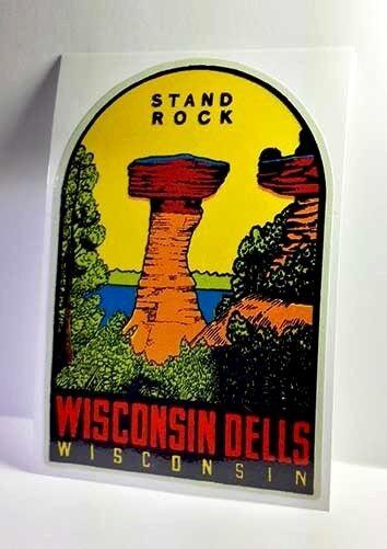 Wisconsin Dells Vintage Style Travel Decal / Vinyl Sticker, Luggage Label