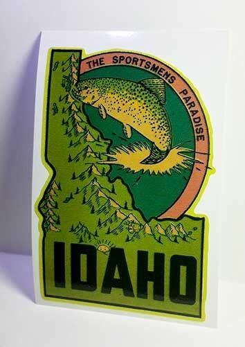 Idaho Fishing Vintage Style Travel Decal / Vinyl Sticker, Luggage Label