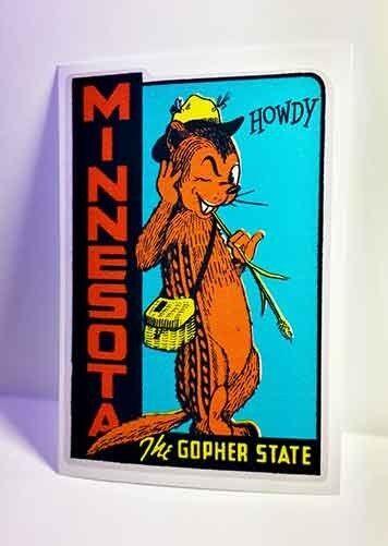 Minnesota Vintage Style Travel Decal / Vinyl Sticker, Luggage Label