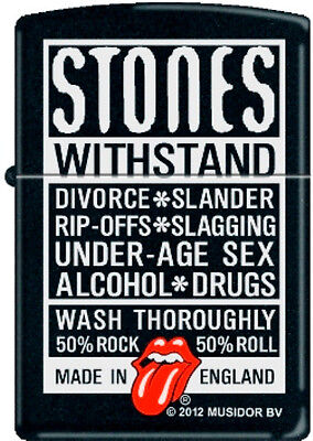 Zippo Rolling Stones Withstand Black Matte Windproof Lighter 2007 Catalog 21180