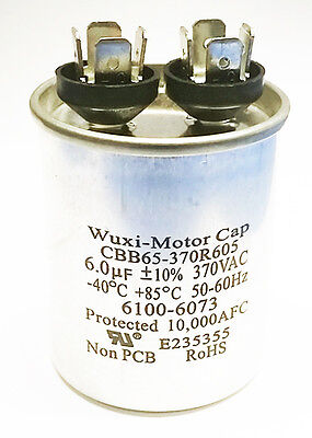 Motor Run Capacitor 6uf 370 Vac 10 Cbb65-370r605 New 1 Piece
