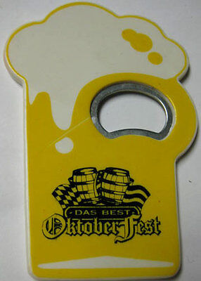 DAS BEST OKTOBERFEST plastic & metal mug-shaped Beer Bottle OPENER with BARRELS