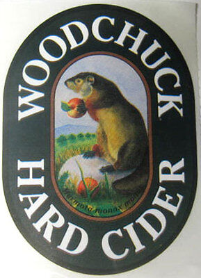 WOODCHUCK HARD CIDER STICKER with GROUNDHOG eating an APPLE, Middlebury, VERMONT