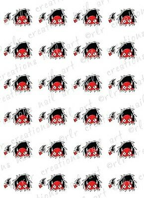 20 HALLOWEEN DEVIL MONSTER Water Slide  Nail Art Decals. Halloween Nail Decals