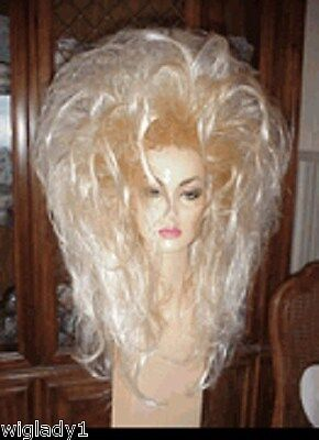 SIN CITY WIGS LONG SEXY FROSTED BLONDE TEASED LAYERS SPIKY BIG 80S HAIR - Spiky Blonde Wig