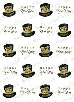 20 NAIL DECALS * HAPPY NEW YEAR TOP HAT and SCRIPT*  WATER SLIDE NAIL DECALS  - Happy New Year Top Hat