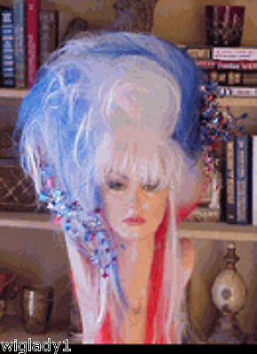 Sin City Costumes (SIN CITY WIGS WILD FUNKY COSTUME BIG WIG 4TH OF JULY RED WHITE BLUE LONG TEASED)