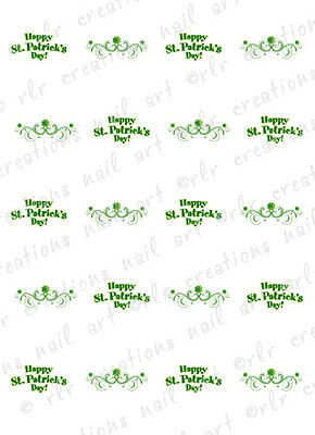 20 Nail Decals St Patrick's Day Clover Swirl Water Slide Nail Art Decals - St Patrick's Day Art