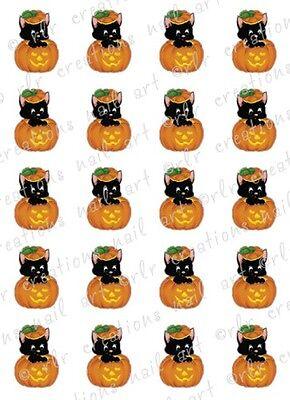 20 HALLOWEEN NAIL DECALS * BLACK CAT IN PUMPKIN *   Water Slide  Nail Art Decals](Black Cat Halloween Nails)