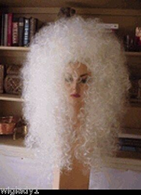 EMPRESS BIANCA DRAG QUEEN LONG CURLY WHITE BIG AFRO TEASED VOLUME BODY - White Afro