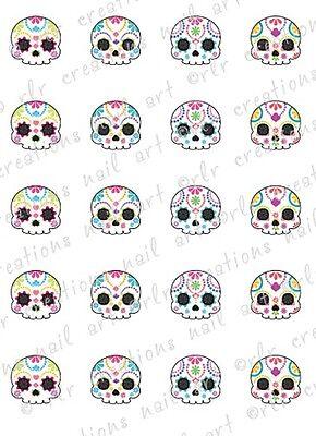 20 Colorful SUGAR SKULL Assortment Water Slide Nail  Decals Skull Nail (Sugar Skull Nails)