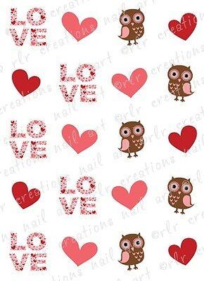 20 Nail Decals VALENTINE OWL LOVE Water Slide Nail Art Decals Asst Designs OWLS](Valentine Owl)