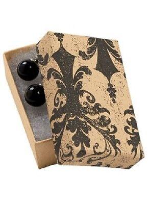Jewelry Boxes 100 Tan Black Damask 2 12 X 1 12 X 78 Print Cotton Filled