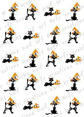 20 HALLOWEEN NAIL DECALS * BLACK CAT w/ WITCH HAT * WATER SLIDE NAIL ART DECALS - Halloween Black Nails