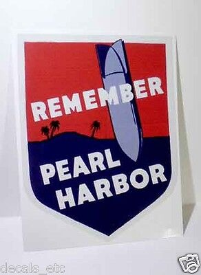 Remember Pearl Harbor Hawaii, Vintage Style WWII Travel Decal, Vinyl Sticker