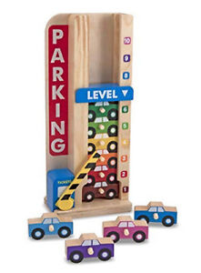 Melissa Doug Stack Count Wooden Parking Garage With 10 Cars