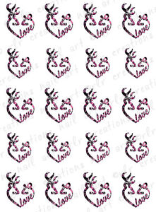 20-Water-Slide-Nail-Decals-Browning-Deer-Pink-Camo-Country-Love-Valentine-Day