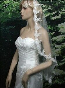 NEW! 1T Gorgeous White Fingertip Ivory Lace Veil