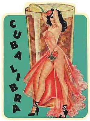 Havana Habana Libre  CUBA   Vintage 1950's  Style  Travel Decal  (1950's Havana Fashion)