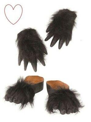 Halloween Affe Fell Haarig Tier Kostüm Handschuhe Gorilla Hände Füße - Gorilla Kostüm Halloween