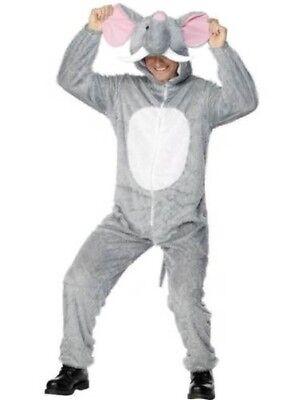 Erwachsener Elefant Kostüme (Herren Damen grau Elefant Overall Kostüm Erwachsene Overall Outfit)
