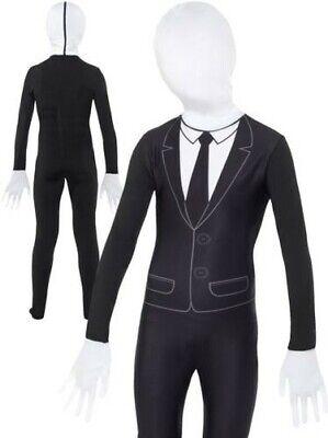 Jungen Slenderman Kostüm Kinder Zweite Haut Anzug Kostüm Halloween S-L
