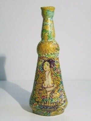 Vintage Bottle Decorative Glass With Figure Woman Painted Period Xx Century