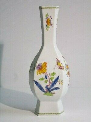 Vintage Vase Ceramics White with Shapes Floral Coloured Period Xx Century