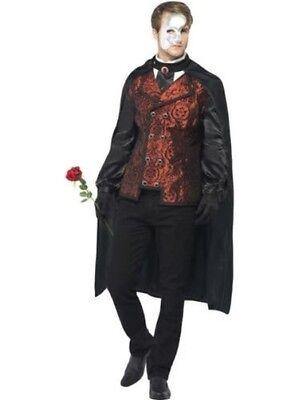 Herren Phantom der Oper Kostüm Dunkel Maskerade Kostüm Outfit Umhang + Maske