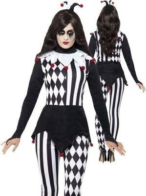 Damen Hofnarr Halloween Kostüm Erwachsene Harlekin Clown Kostüm Damen S-L (Damen Hofnarr Kostüm Kostüm)