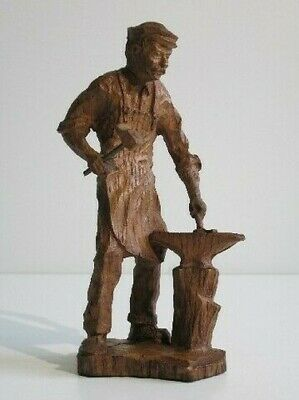 Vintage Statue Decorative Figure Man Blacksmith With Anvil and Hammer Xx Century