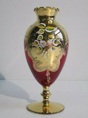 Vintage Vase Venetian Glass Red Ruby Painting With Gold Xx Century