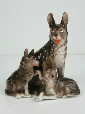 Vintage Statue Ornament IN Ceramic Painted & Numbered Figure 3 Dog Xx Century