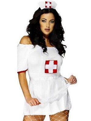 Weiß Krankenschwester Satz Hut Strumpfhalter Schürze Damen Sexy Kostüm (Sexy Krankenschwester Kostüm Zubehör)