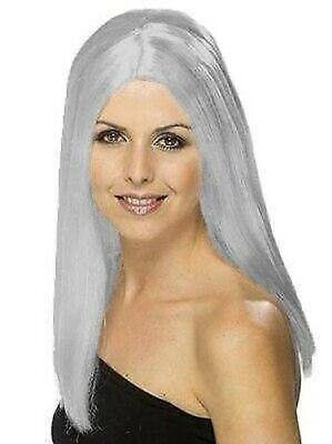 Lang Grau Perücke, Gerade Haar, 45.7cm, Alt Damen, Zombie, Halloween - Alte Dame Zombie Kostüm
