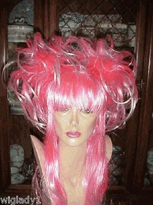 Sin City Costumes (SIN CITY COSTUME WIGS HOT NEON PINK LONG STRAIGHT SHINY PIGTAILS FUN FUNKY WILD)