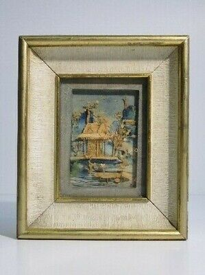 Vintage Painting Eastern with Miniature Paesaggio in Cork Period Xx Century